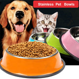 3 Size Stainless Steel Dog Feeding Bowl Puppy Cats Food Drink Water Feeder Non-slip Feeding Dish#
