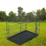 Black Pet Folding Wire Cage With Divider Bar And Plastic Tray