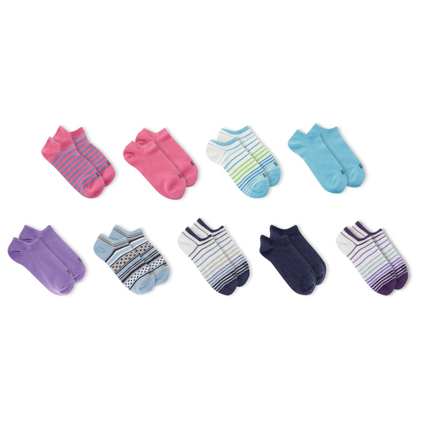 Women's Nine Pair Multi Stripe No Show Socks