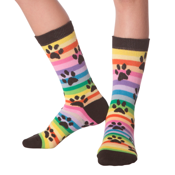 Kid's Rainbow Stripe Paw Prints Crew Socks