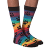 Men's Rainbow Stripe Paw Prints Crew Socks
