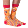 Men's Orange Carp Fish Crew Socks