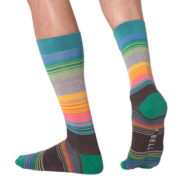 Men's Multi-Color Striped Crew Socks
