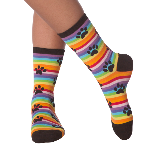 Women's Rainbow Stripe Paw Prints Crew Socks