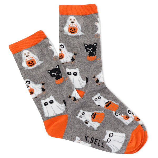 Women's Cat and Dog Ghosts Crew Socks