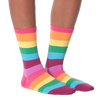 Women's Rainbow Stripes Crew Socks