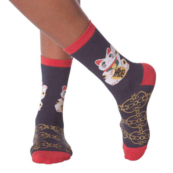 Women's Lucky Cat Crew Socks