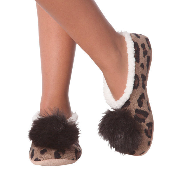 Women's Leopard Pom Slippers