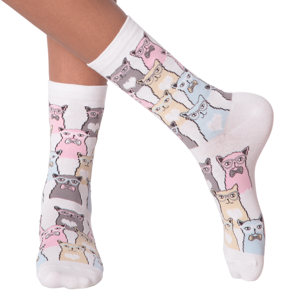 Women's Smarty Cats Crew Socks