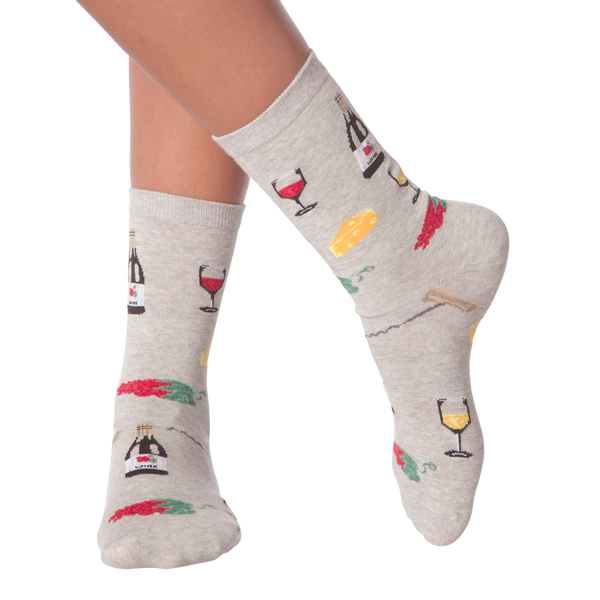Women's Wine and Cheese Crew Socks