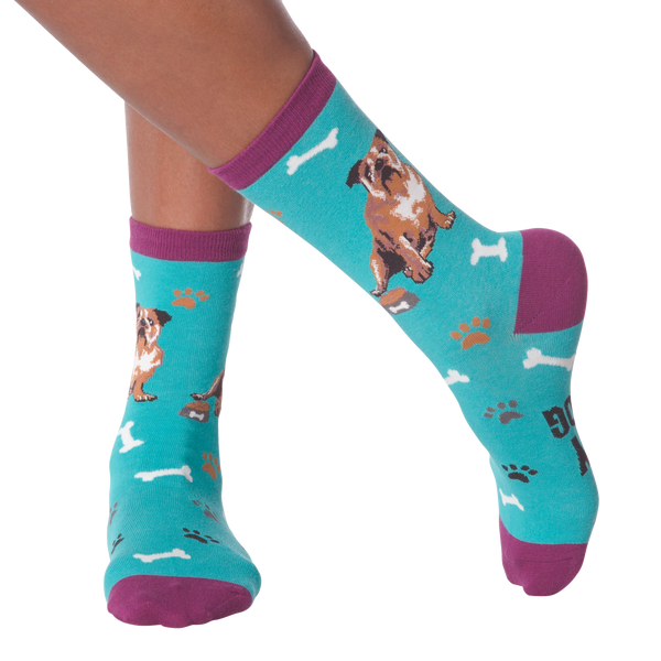 Women's Bull Dog Crew Socks
