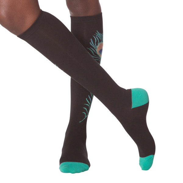 Women's Peacock Feather Knee High Socks