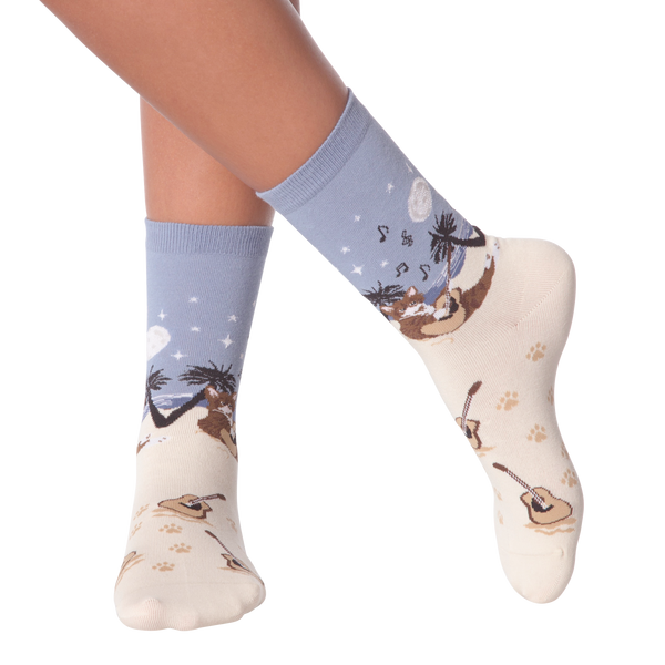 Women's Beach Cat Crew Socks