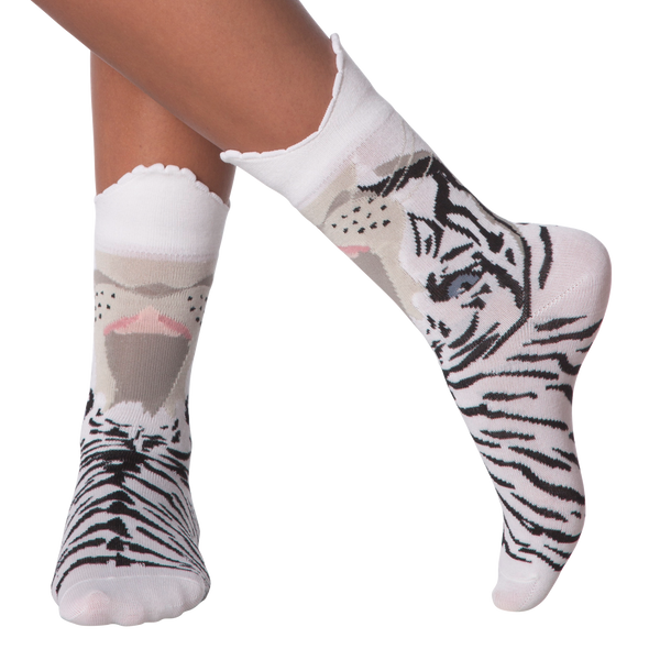 Women's Wide Mouth Tiger Crew Socks