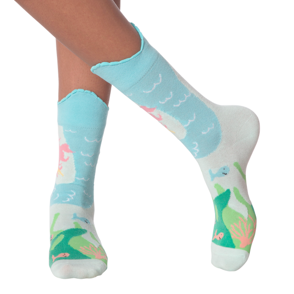 Women's Wide Mouth Mermaid Tail Crew Socks