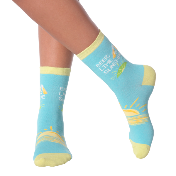Women's Beer Lime and Sunshine Crew Socks