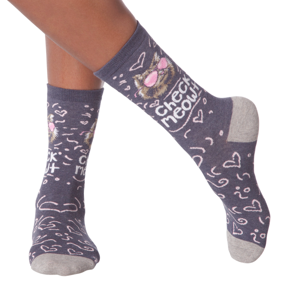 Women's Check Meowt Crew Socks