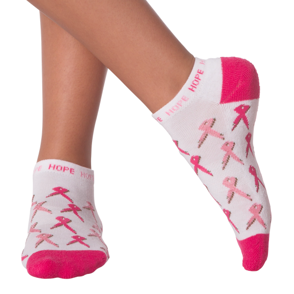 Women's All Over Pink Ribbon Ankle Socks