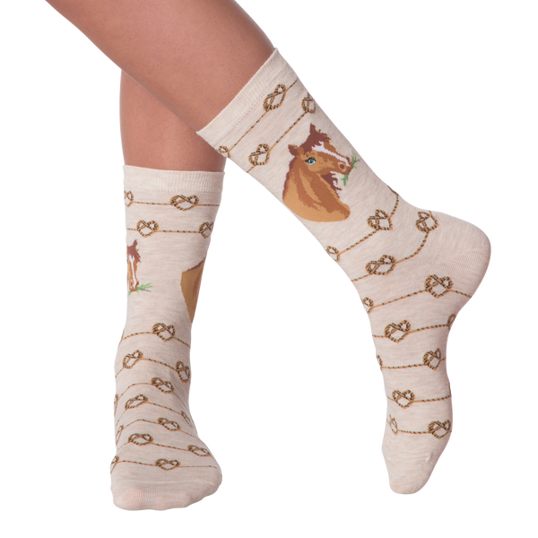 Women's Love Knot Horse Crew Socks