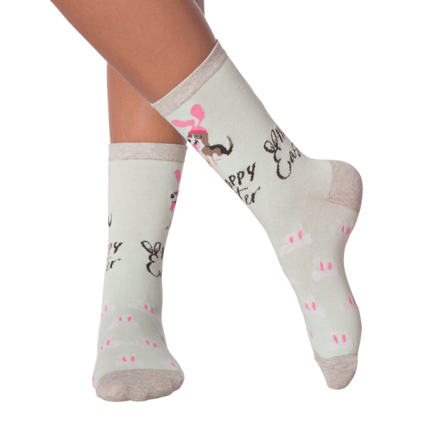 Women's Hoppy Easter Dog Crew Socks