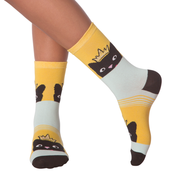 Women's Peeking Cat Crew Socks