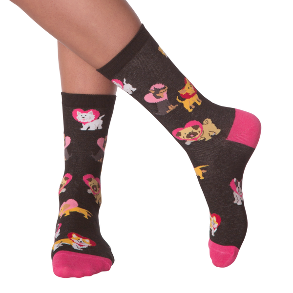Women's Heart Cone Dogs Crew Socks