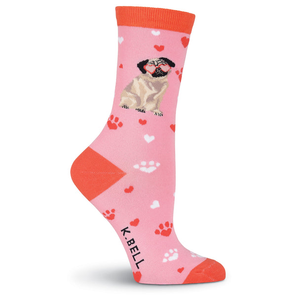 Women's Pug Love Crew Socks