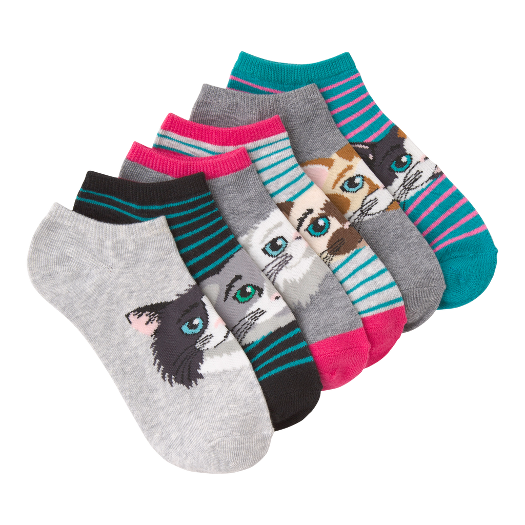 Women's Cat Faces Ankle Socks Six Pair Pack