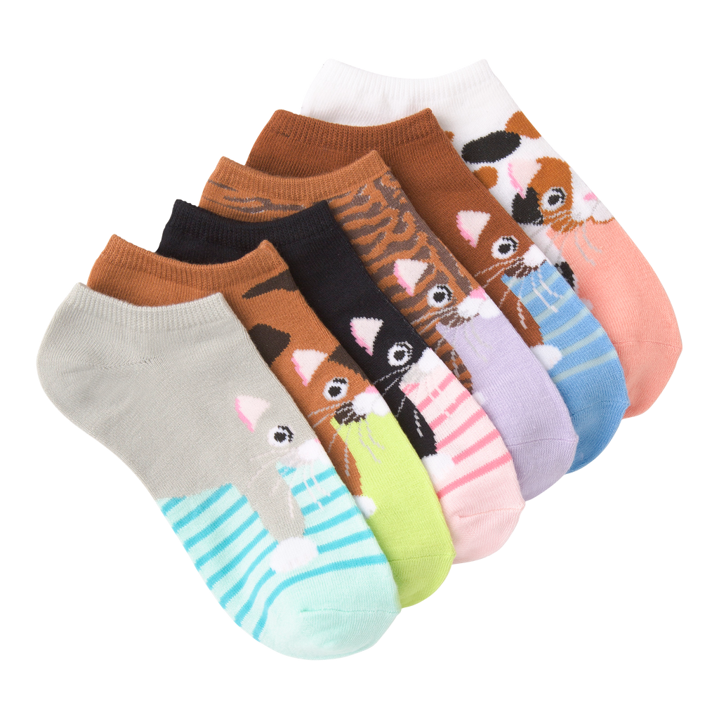 Women's Cats Ankle Socks Six Pair Pack
