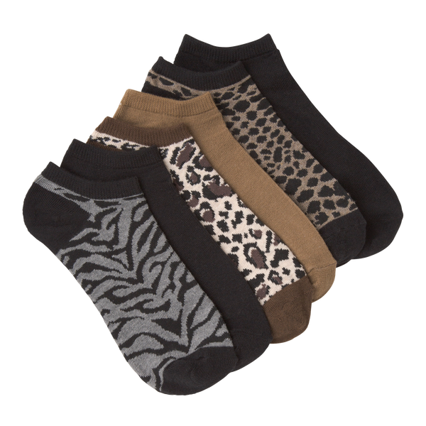 Women's Animal Print Ankle Socks Six Pair Pack