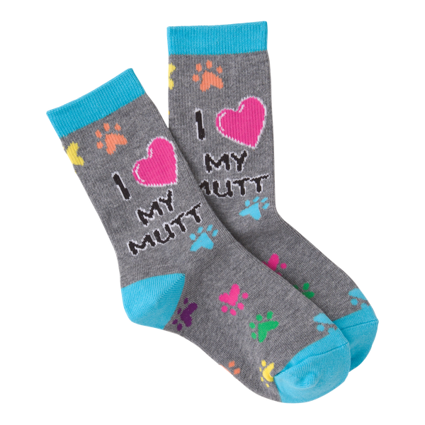Kid's I Heart My Mutt Crew Socks