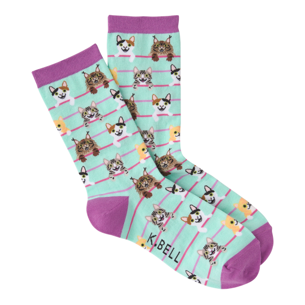 Women's Cat Stripes Crew Socks