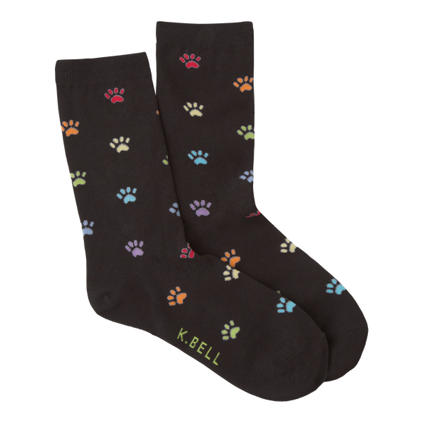 Women's Coloful Paw Prints Crew Socks
