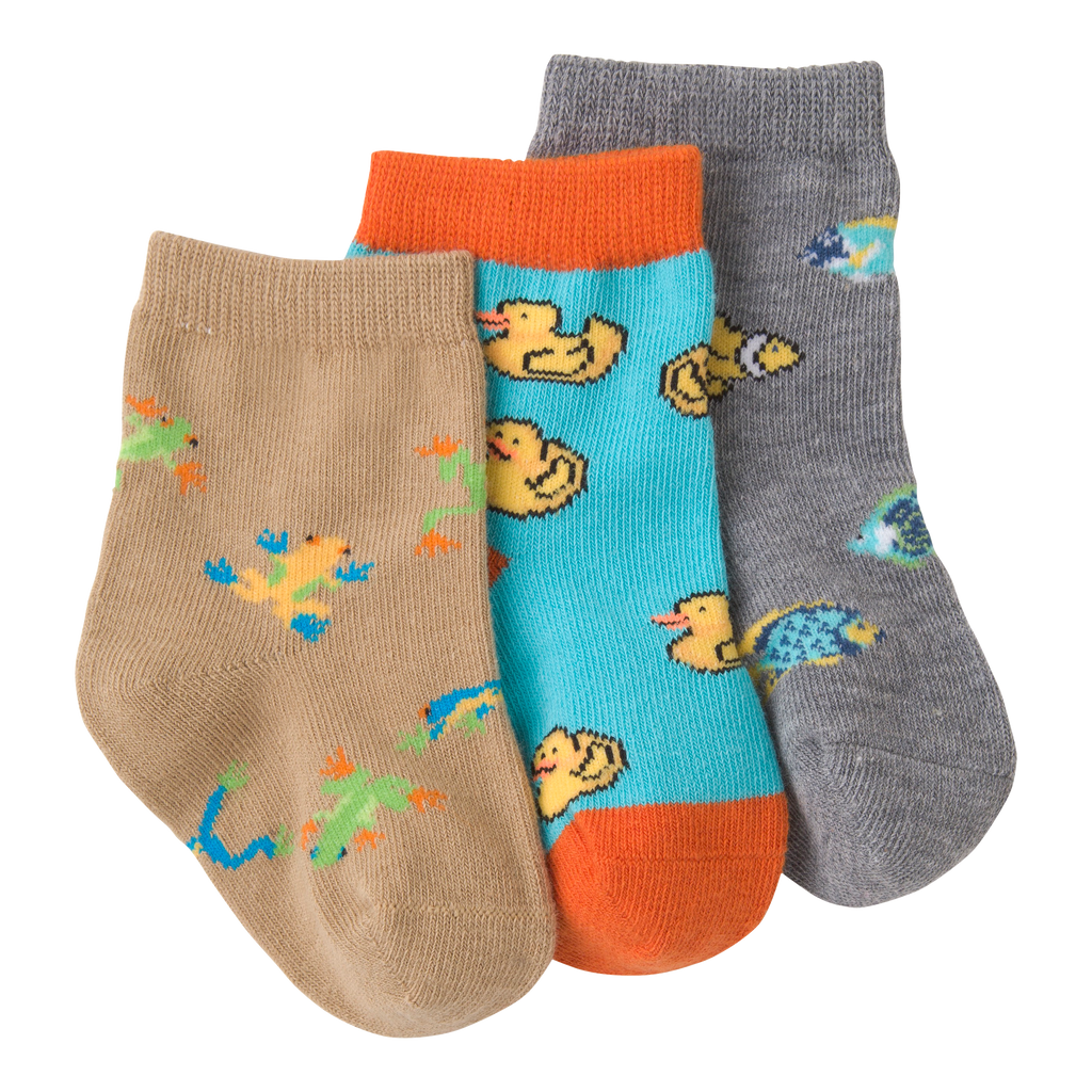 Infant's Colorful Fish Three Pair Crew Socks
