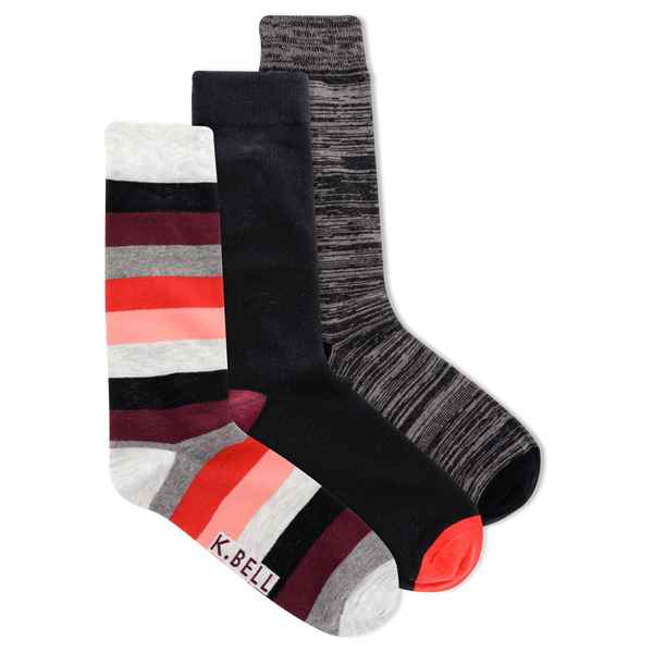 Men's Bold Stripe Essentials Crew Socks 3 Pair Pack