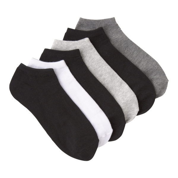 Women's Solid Charcoal Ankle Socks Six Pair Pack