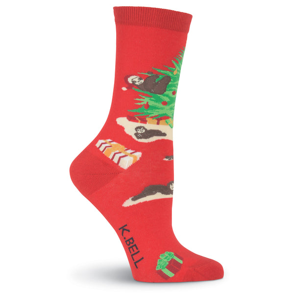 Women's Christmas Sloths Crew Socks
