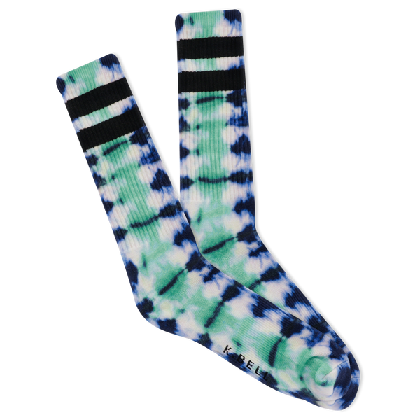 Men's Tie Dye Sport W Stripes Crew Socks