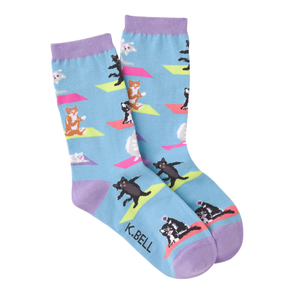 Women's Yoga Cat Crew Socks
