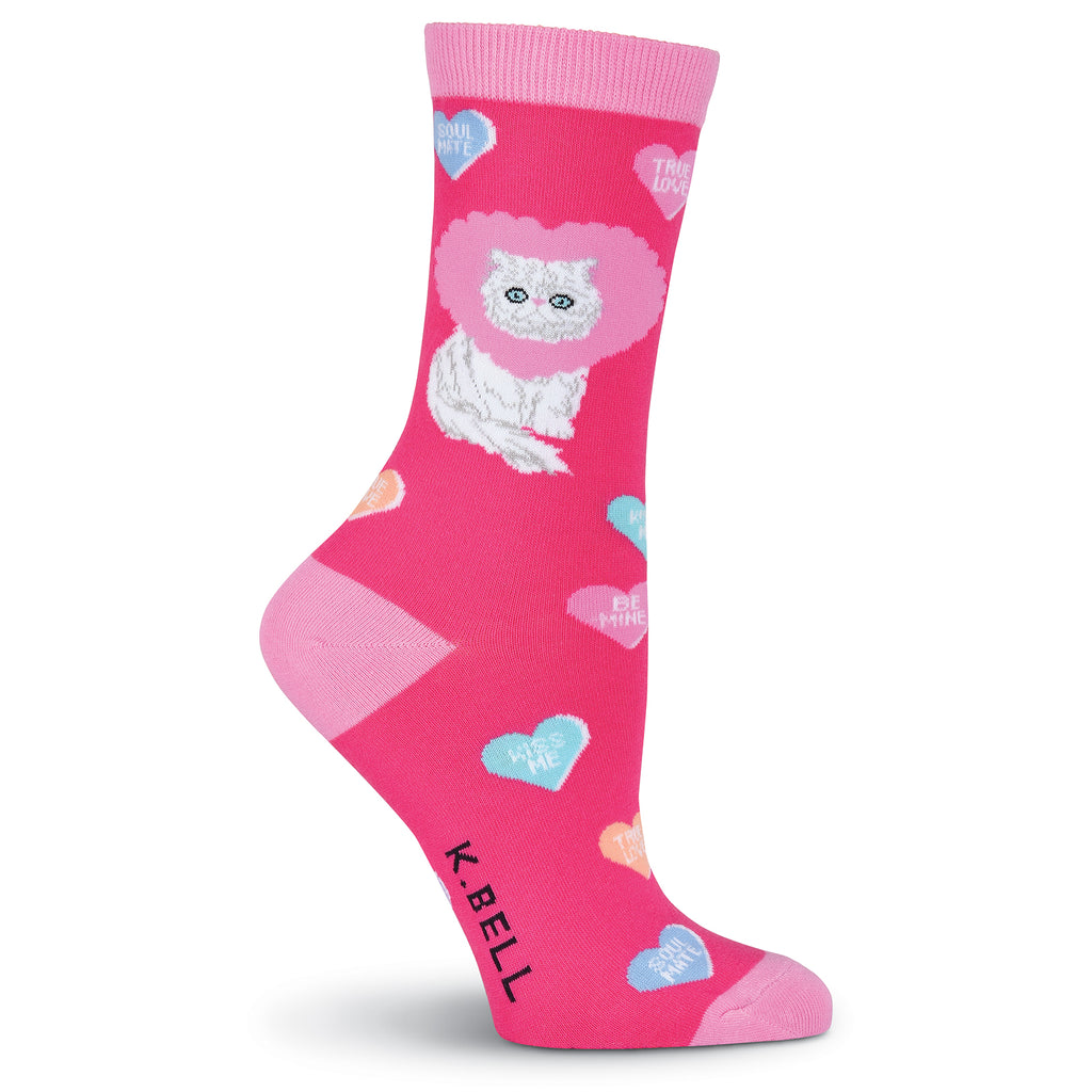 Women's Valentine Cat Crew Socks