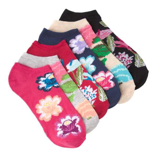 Women's Botanical Florals Ankle Socks Six Pair Pack