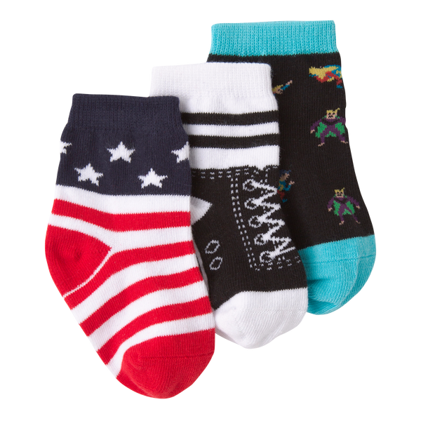 Infant's High Top Three Pair Crew Socks