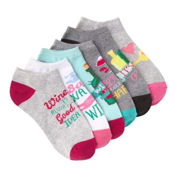 Women's Wine Time Ankle Socks Six Pair Pack