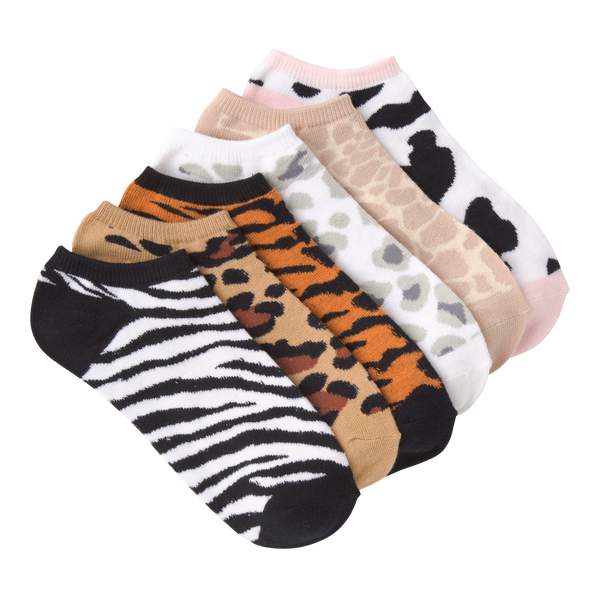 Women's Animal Prints Ankle Socks Six Pair Pack