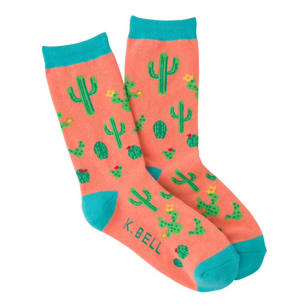 Women's Cactus Crew Socks -  American Made