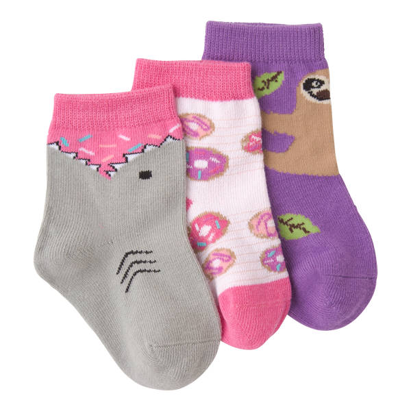 Infant's Shark Bite Sprinkles Three Pair Crew Socks