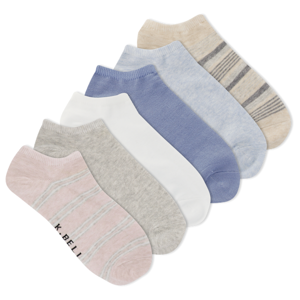 Women's Double Repeat Stripe Ankle Socks Six Pair Pack