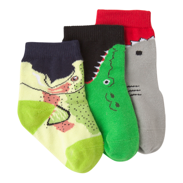 Infant's Shark Bite Three Pair Crew Socks