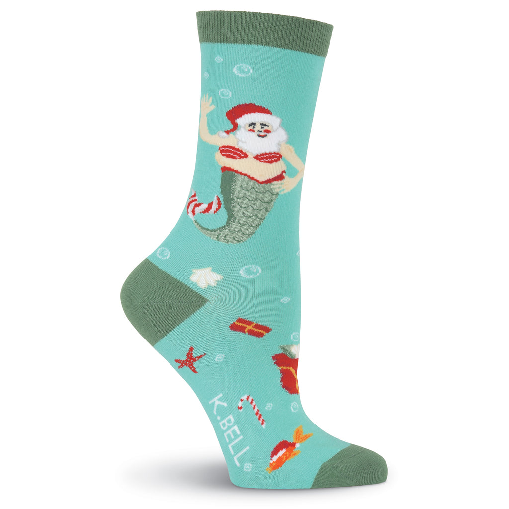 Women's Mermaid Santa Crew Socks