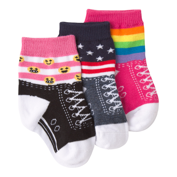 Infant's Rainbow Stripe Shoe Three Pair Crew Socks